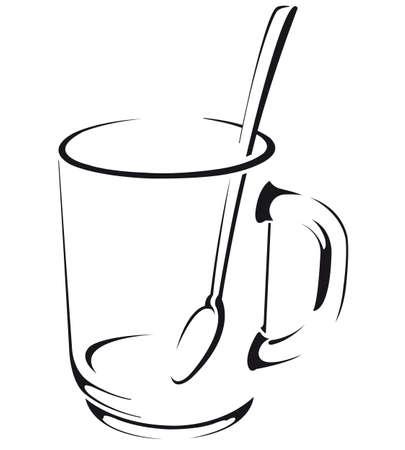 Нарисованная кружка с ложкой