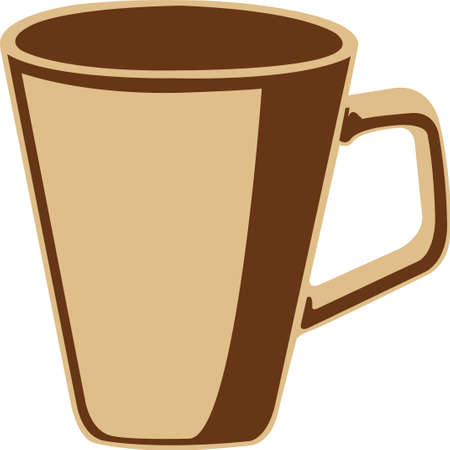 brown coffee cup, icon, isolated on wite background