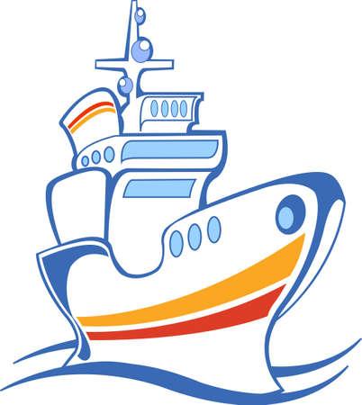 steamship: white steamship, line art, icon