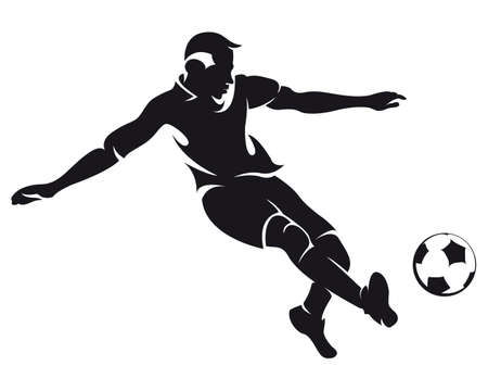 fuball spieler: Vektor-Fu�ball (Fu�ball) Spieler l�uft mit Ball Silhouette isoliert