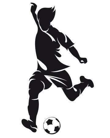 goal kick: vector football (soccer) player running silhouette with ball isolated