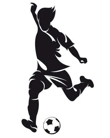 kick: vettore di calcio (calcio) in esecuzione silhouette giocatore con la palla isolato