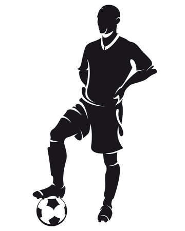 Vector football (soccer) player standing silhouette with ball isolated Иллюстрация