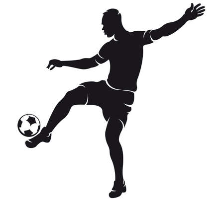goal kick:  Vector football (soccer) player silhouette with ball isolated Illustration