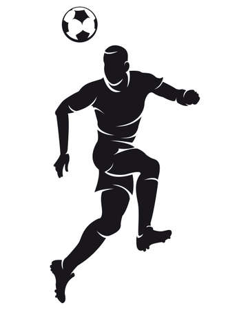 competitive sport:  Vector football (soccer) player silhouette with ball isolated Illustration