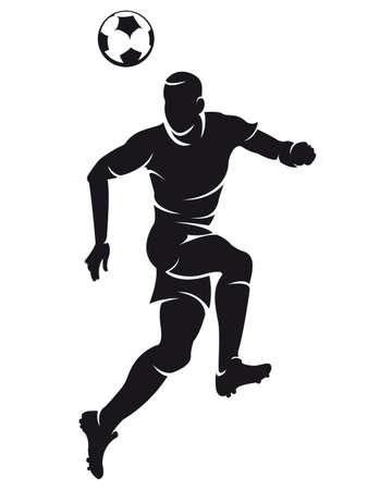 Vector voetbal (soccer) speler silhouet met bal geïsoleerde Stock Illustratie