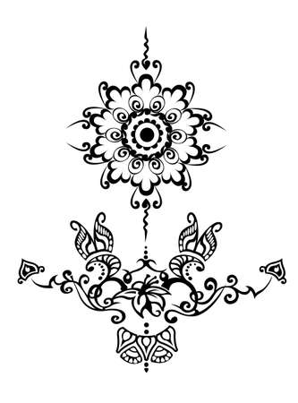 floral ornamental tatoo Vector