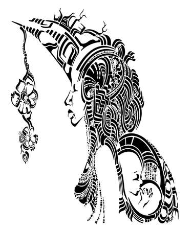 african woman with baby behind the back, decorative Illustration