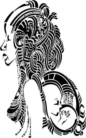 african woman with baby behind the back, decorative
