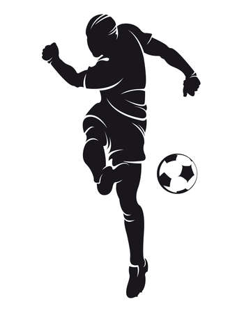 Vector football  soccer  player silhouette with ball isolated Иллюстрация