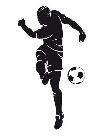 Vector voetbal speler silhouet met bal geïsoleerde Stock Illustratie