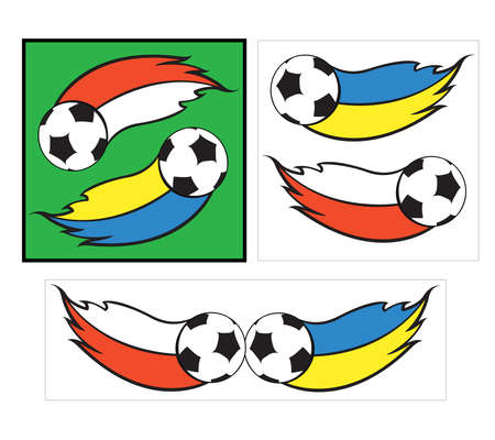 logo with football balls and polish and ukranian flags Illustration