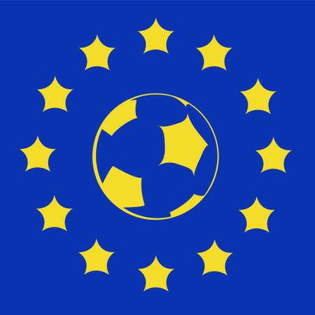 logo met EU-symbolen en voetbal bal Stock Illustratie
