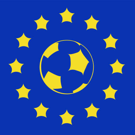 logo with EU symbols and football ball Vector