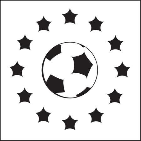 практика: черно-белый логотип с ЕС символов и футбольный мяч