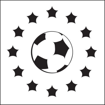 black and white logo with EU symbols and football ball