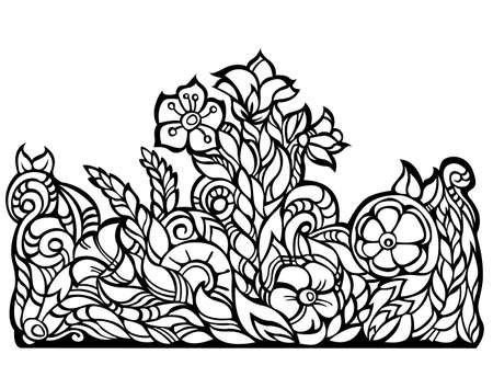 floral border, black contour, isolated