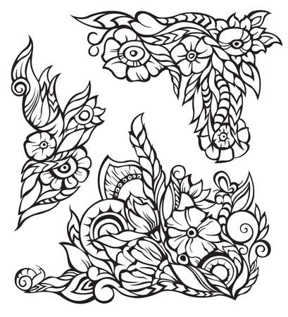 floral border, black contour, isolated Vector