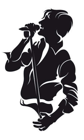 karaoke singer:  man singing with mic, silhouette isolated on white Illustration