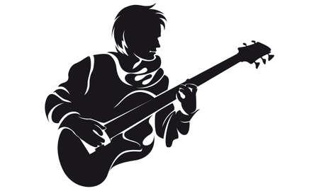 bassist, silhouette