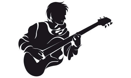 outlined: bassist, silhouette