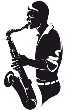 saxophonist, silhouette