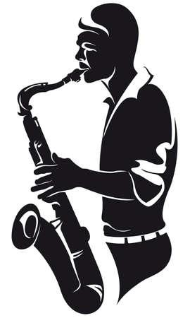 saxofonist, silhouette