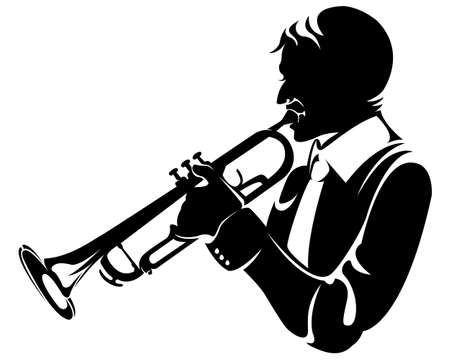bass player: trumpeter, silhouette