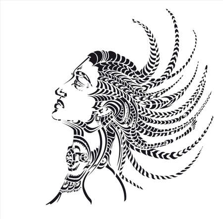 plait: african woman with tresses, decorative
