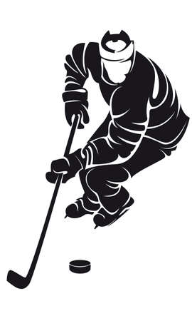 ice hockey player: hockey player, silhouette