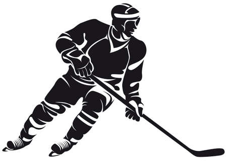 ice hockey player: hockey player, silhouette, isolated on white Illustration