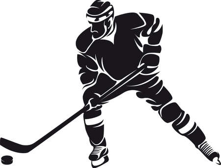 korcsolya: jégkorong játékos, árnykép Illusztráció
