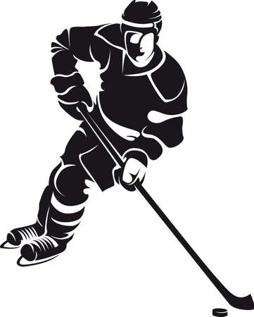 hockey puck: hockey player, silhouette
