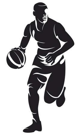 basketbal speler met bal, silhouette