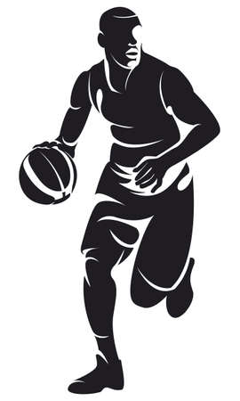 dribbling: basketball player with ball, silhouette