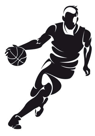 dribbling: basketbalspeler, silhouette Stock Illustratie