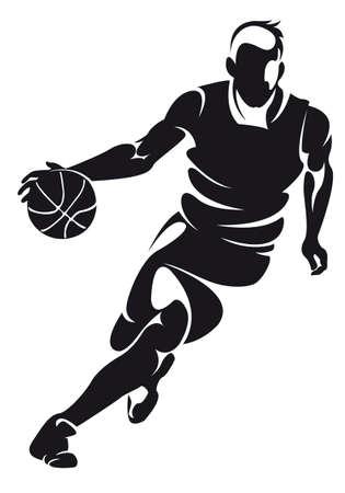ballon basketball: le joueur de basket, silhouette