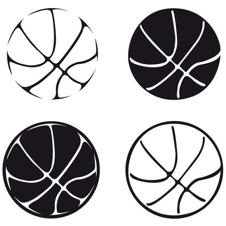 set of basketball balls, silhouette Illustration