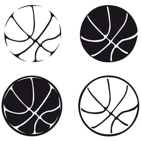 set van basketbal ballen, silhouet Stock Illustratie