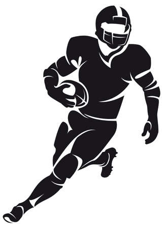voetbal silhouet: American football-speler, silhouette Stock Illustratie
