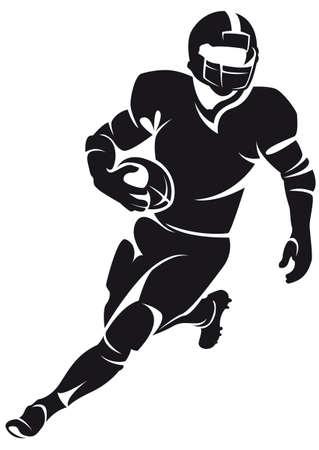 Giocatore di football americano, silhouette Vettoriali