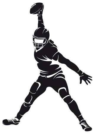 American football-speler, silhouette Stock Illustratie