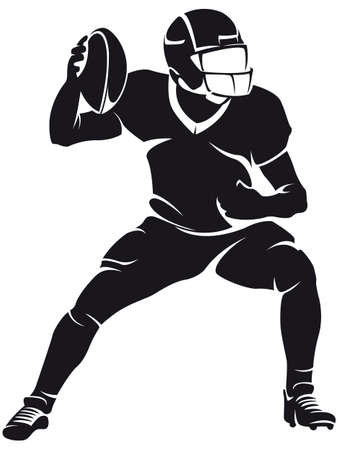 American football player, silhouette Иллюстрация