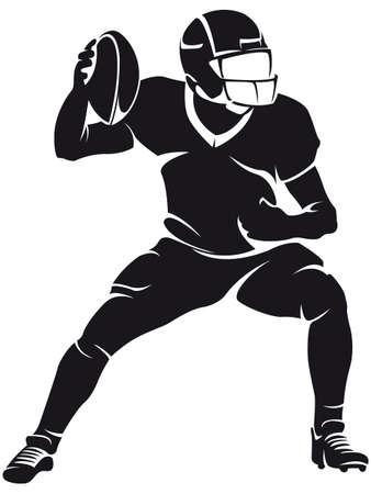 football players: Jugador de f?l americano, silueta