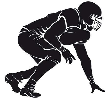 football silhouette: Giocatore di football americano, silhouette
