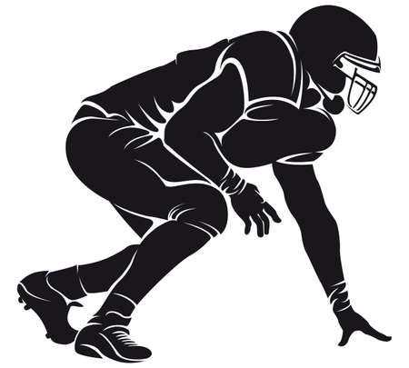 jugador de futbol americano: Jugador de f?tbol americano, silueta