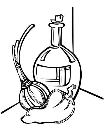 Still life with onion, pepper and bottle Illustration