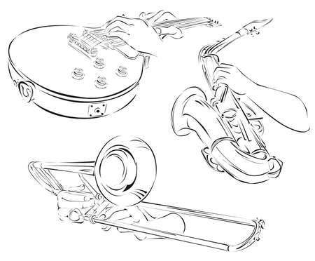 trombón, guitarra, saxofón, un conjunto de artes de línea Ilustración de vector