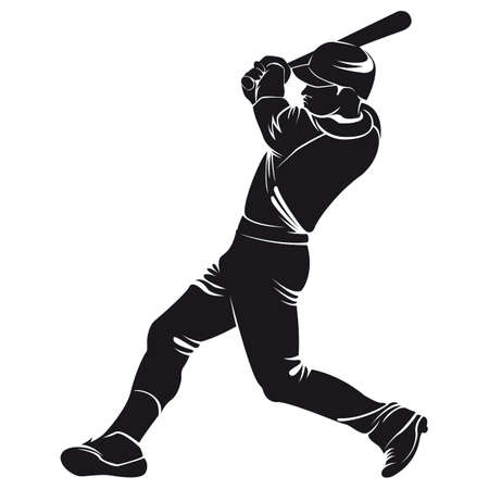 ballplayer, silhouette, isolated on white
