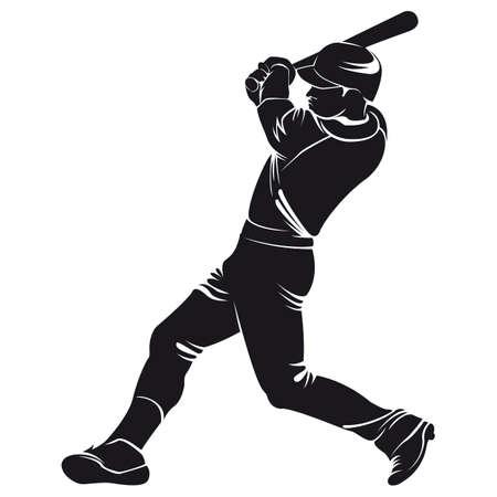 honkballer, silhouet, geïsoleerd op wit
